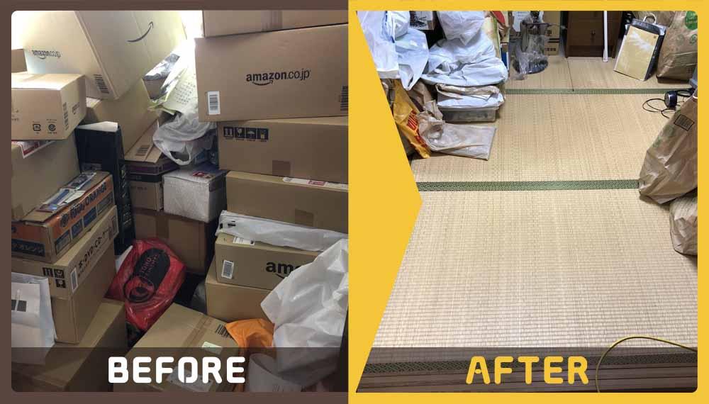 真上の階の水漏れが原因で、修繕のために家財道具を処分することになられたお客様から、ご相談いただきました。