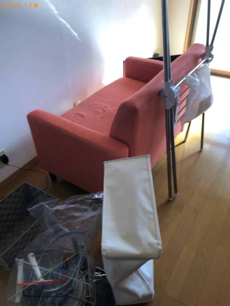 【糸島市】遺品整理で二人掛けソファー、ラック、一般ごみの回収・処分ご依頼